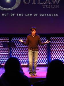 Ted Dekker speaks during his Outlaw Tour at the Miracle Theatre which is now National Community Church