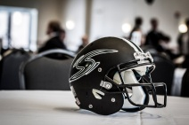 Football Helmet at a Stevenson Sports Symposium