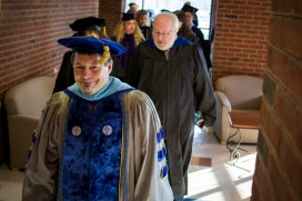Professors walking to Commencement Ceremony